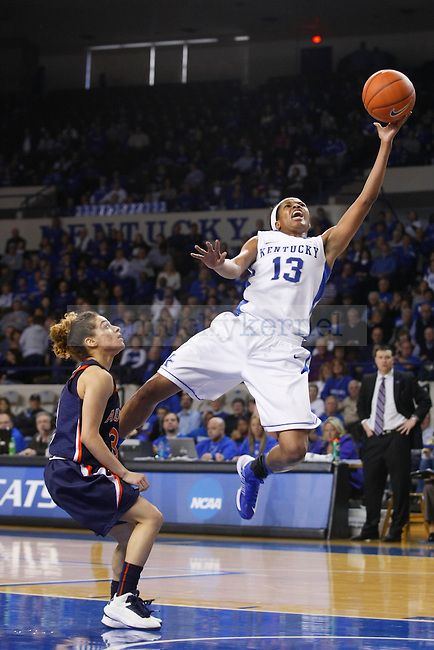 UK guard Bria Goss jumps to shoot the ball during the second half of the UK Hoops vs. Auburn women's basketball game at Memorial Coliseum in Lexington, Ky., on Sunday, January 20, 2013. Photo by Tessa Lighty | Staff