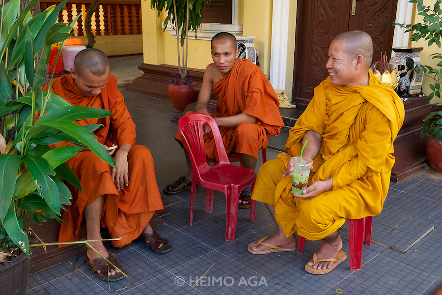 Phnom Penh, Cambodia. Buddhist monks at Wat Botum.