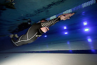 The first Norwegian freediving championship, held in Askinm, Norway..Bjarte Nygard swimming DYN 153 meters..© Fredrik Naumann/Felix Features