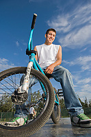 Portrait of teenage boy on his bike, Fairbanks, Alaska.