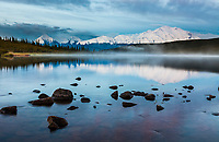 Early morning sunrise on the face of Denali,  and Wonder Lake, Denali National Park, Interior, Alaska.