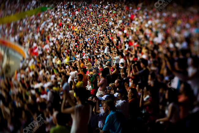 Crowd at National Stadium (Bird's Nest), during the Summer Olympics, Beijing, China, August 16, 2008