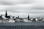 the Hamburg harbor with boats and sailing ships in Hamburg.