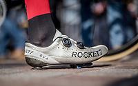 Greg Van Avermaet's (BEL/BMC) cracked shoe<br /> <br /> 79th Gent-Wevelgem 2017 (1.UWT)<br /> 1day race: Deinze &rsaquo; Wevelgem - BEL (249km)