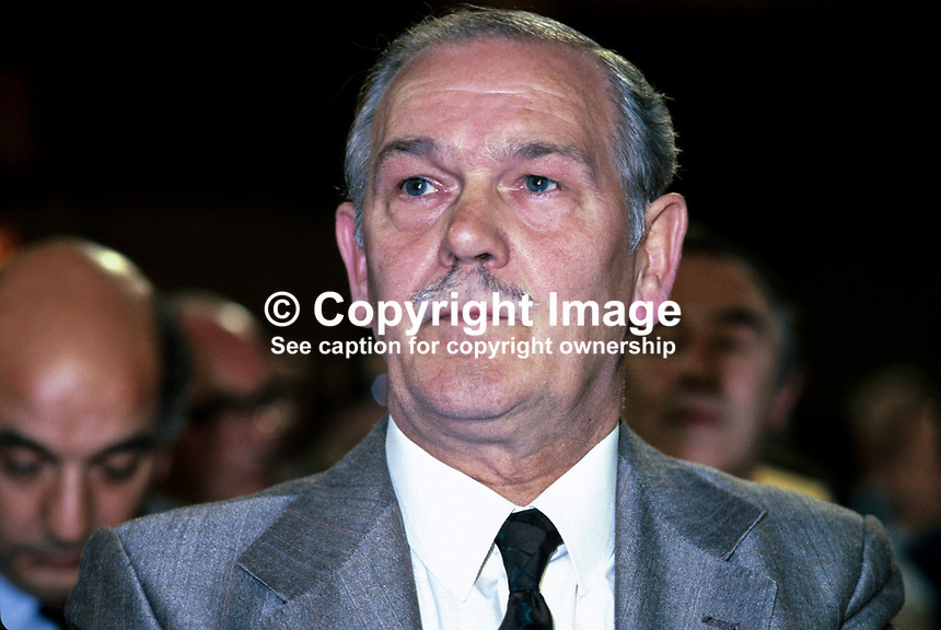 Terry Duffy, president, AUEW, Amalgamated Union of Engineering Workers, in the audience at the annual conference of the UK Labour Party. 198010000312..Copyright Image from Victor Patterson, 54 Dorchester Park, Belfast, UK, BT9 6RJ..Tel: +44 28 9066 1296.Mob: +44 7802 353836.Voicemail +44 20 8816 7153.Skype: victorpattersonbelfast.Email: victorpatterson@mac.com.Email: victorpatterson@ireland.com (back-up)..IMPORTANT: If you wish to use this image or any other of my images please go to www.victorpatterson.com and click on the Terms & Conditions. Then contact me by email or phone with the reference number(s) of the image(s) concerned.