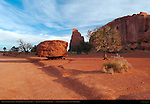 Monument Valley Landscape, Mushroom Rock and Spearhead Mesa, Monument Valley Navajo Tribal Park, Navajo Nation Reservation, Utah/Arizona Border