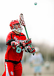 19 March 2011: St. John's University Red Storm Attacker Kieran McArdle, a Freshman from Ronkonkoma, NY, in action against the University of Vermont Catamounts at Moulton Winder Field in Burlington, Vermont. The Catamounts defeated the visiting Red Storm 14-9. Mandatory Credit: Ed Wolfstein Photo