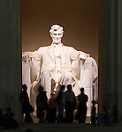 Washington DC; USA: Night photography of the icons along the Mall.  Photo of Abraham Lincoln statue in the Lincoln Memorial.Photo copyright Lee Foster Photo # 19-washdc80708