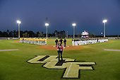National anthem before the season opening game between the Siena Saints and Central Florida Knights at Jay Bergman Field on February 14, 2014 in Orlando, Florida.  UCF defeated Siena 8-1.  (Copyright Mike Janes Photography)