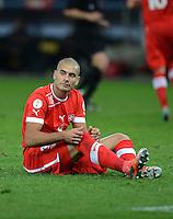 Fussball International  WM Qualifikation 2014   12.10.2012 Schweiz - Norwegen Enttaeuscht am Boden; Eren DERDIYOK (Schweiz)