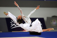 September 23, 2007; Patras, Greece;  Romina Laurito of Italy split leaps during freehands gala exhibition at 2007 World Championships Patras.  Photo by Tom Theobald.