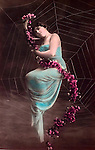 vintage photo: Woman in a spider web from  hand tinted realphoto postcard circa 1910