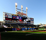 4 September 2009: The sun sets on the scoreboard prior to a Cleveland Indians game against the Minnesota Twins at Progressive Field in Cleveland, Ohio. The Indians defeated the Twins 5-2 to take the first game of their three-game weekend series. Mandatory Credit: Ed Wolfstein Photo