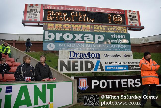 Stoke City 2 Bristol City 1, 19th April 2008. Anxious Stoke fans following Bristol Citys goal.Photo by Paul ThompsonStoke City 2 Bristol City 1, 19/04/2008. Britannia Stadium, Championship. Photo by Paul Thompson.
