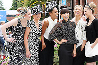 5/8/2010.Blossom Hill Ladies Day.Assets models wearing Arnotts cloths are pictured at the Blossom Hill Ladies Day at the Fáilte Ireland Dublin Horse Show at RDS. Picture James Horan/Collins Photos