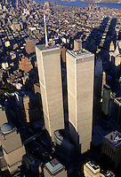 Looking Down, Aerial View, Manhattan, New York City, New York, USA,Twin Towers, World Trade Center, designed by Minoru Yamasaki, International Style II, Photographed 2000