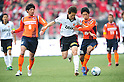 (L-R) Takuya Aoki (Ardija), Tomoya Ugajin (Reds), Daisuke Watabe (Ardija),..FEBRUARY 20, 2011 - Football :..Saitama City Cup match between Omiya Ardija 3-0 Urawa Red Diamonds at NACK5 Stadium Omiya in Saitama, Japan. (Photo by AFLO)