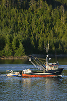 Commercial purse seine fishing boat in Sitka Channel, Baranof island, Alaska Tongass National Forest.