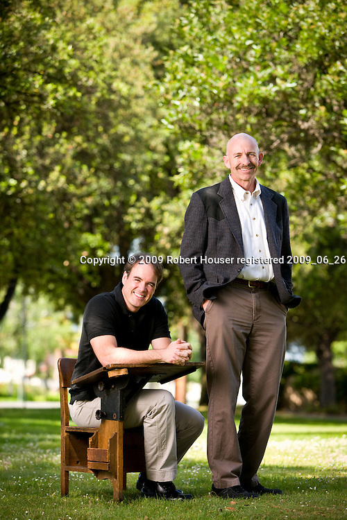 Alan Filmore - Technology Director (white shirt) and Sean Mulligan images - District Technician (black shirt) - Union School District, San Jose: Executive portrait photographs by San Francisco - corporate and annual report - photographer Robert Houser. 2009 pictures.