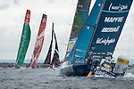 Telefonica follows Sanya, Groupama, CAMPER with Emirates Team New Zealand and Puma. In Port Race Galway Ireland. Volvo Ocean Race 2011-2012. 7/7/2012