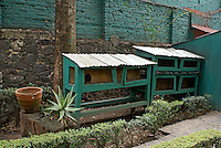 Trotsky's rabbit hutches at the Museo Casa de Leon Trotsky or Leon Trotsky House Museum in Coyoacan, Mexico City
