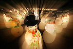 Illuminated snowman by the hundreds off the roadside at the Cornerstone Place in Sonoma, California.