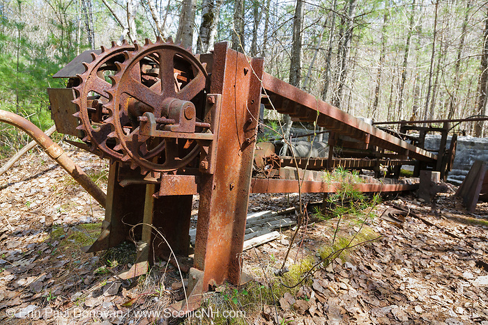 Tool conveyor belt at the abandoned Redstone Granite quarry in Conway, New Hampshire USA.