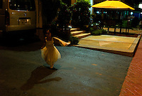 Vientiane, Laos, August 11, 2007.Poupee is 5 years old today, she runs to her birthday party.