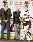 David Schaus, Cathy Schaus, Molly Schaus (BC - 30) - The Boston College Eagles and the visiting University of New Hampshire Wildcats played to a scoreless tie in BC's senior game on Saturday, February 19, 2011, at Conte Forum in Chestnut Hill, Massachusetts.