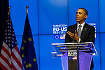 The United States President Barack Obama, hold a press conference after a meeting in the EU-US Summit in Council of Europe, in Brussels, Wednesday 26, March 2014.<br /> This is the first visit for President Barack Obama to the European Institutions in Brussels. Photo by Delmi Alvarez