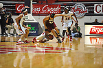 "Ole Miss' Tia Faleru (32) gets the ball away from UMass' Aisha Rodney (34), Ole Miss' Monique Jackson (42) and Ole Miss' Danielle McCray (22) at the C.M. ""Tad"" Smith Coliseum in Oxford, Miss. on Saturday, December 8, 2012."