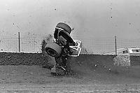 Frame #2 of Gary Bettenhausen's crash during a 1977 USAC race at Eldora Speedway near Rossburg, Ohio.