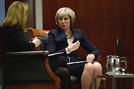 Washington, DC - February 16, 2016: The Honorable Theresa May, UK Home Secretary, discuses the UK's effort to address the challenges of counter-terrorism during a discussion at the Center for Strategic and International Studies in the District of Columbia. The discussion was moderated by Kathleen Hicks (l), Director, International Security Program, CSIS. (Photo by Don Baxter/Media Images International)