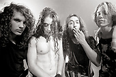 """Soundgarden -L-R: Jason Everman, Chris Cornell, Kim Thayil, Matt Cameron -  on the set of the video shoot for """"Hands All Over,"""" Chaplin Stage, Hollywood, California USA - 21 September 1989. . (Photo by: Greg Allen/Cache Agency/Dalle/IconicPix ** AVAILABLE FOR UK ONLY **"""