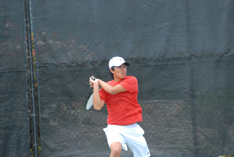 April 25, 2012; San Diego, CA, USA; Gonzaga Bulldogs athlete Levin Guillermo during the WCC Tennis Championships at the Barnes Tennis Center.
