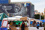 Protest camp at Placa de Catalunya, Barcelona, Spain. Behind is a Hyundai advertisement, which reads &quot;Still believe that animals do not love? Another way of thinking is possible&quot;. The square has been relatively quiet since police attacked and beat protestors on May 27 2011.