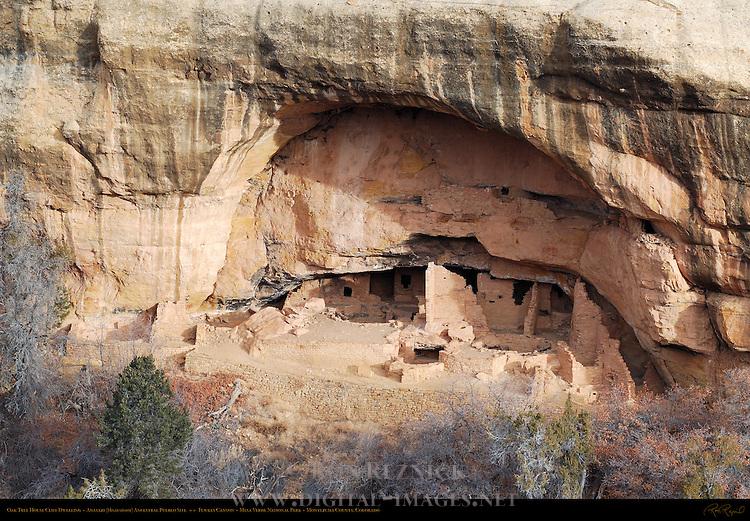 Oak Tree House Cliff Dwelling, Anasazi Hisatsinom Ancestral Pueblo Site, Fewkes Canyon, Mesa Verde National Park, Colorado
