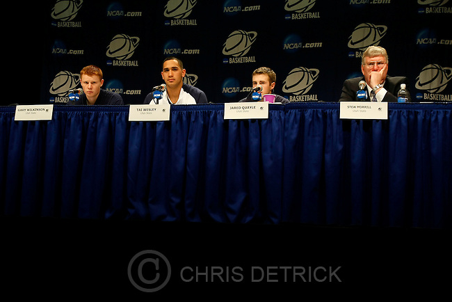 Utah State's Gary Wilkinson, Tai Wesley, Jared Quayle, and Coach Stew Morrill during a press conference after the game at the Taco Bell Arena Friday, March 20, 2009. Utah State lost the game 58-57. .Photo by Chris Detrick/The Salt Lake Tribune.