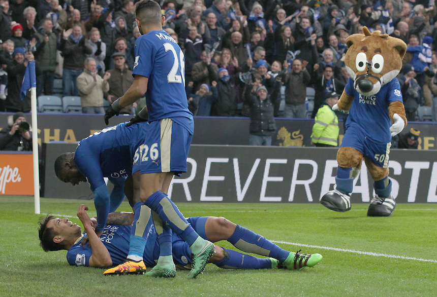 Leicester City's Leonardo Ulloa celebrates scoring his teams winning goal during todays match<br /> <br /> Photographer Rachel Holborn/CameraSport<br /> <br /> Football - Barclays Premiership - Leicester City v Norwich City - Saturday 27th February 2016 - King Power Stadium - Leicester<br /> <br /> &copy; CameraSport - 43 Linden Ave. Countesthorpe. Leicester. England. LE8 5PG - Tel: +44 (0) 116 277 4147 - admin@camerasport.com - www.camerasport.com
