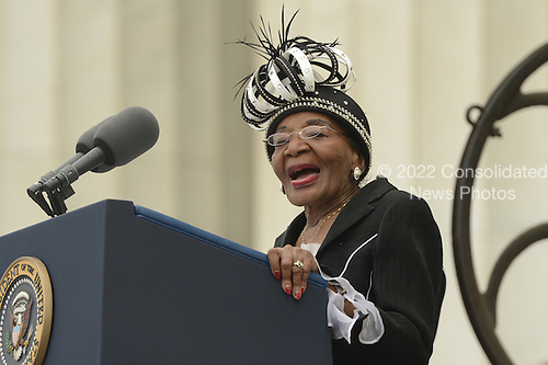 Christine King Farris, sister of late Dr. Martin Luther King Jr.,  delivers remarks during the 'Let Freedom Ring' commemoration event, at the Lincoln Memorial in Washington DC, USA, 28 August 2013. The event was held to commemorate the 50th anniversary of the 28 August 1963 March on Washington led by the late Dr. Martin Luther King Jr., where he famously gave his 'I Have a Dream' speech.<br /> Credit: Michael Reynolds / Pool via CNP