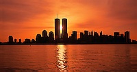 NYC, NY, Sunrise Between Twin Towers, World Trade Center, designed by Minoru Yamasaki, International Style II