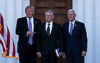United States President-elect Donald Trump (L) and Vice President-elect Mike Pence (R) pose with General James N. Mattis, US Marine Corps, retired, (C) at the clubhouse of Trump International Golf Club, November 19, 2016 in Bedminster Township, New Jersey.  Gen. Mattis is rumored to be a strong candidate for Secretary of Defense in the incoming Trump Administration.<br /> Credit: Aude Guerrucci / Pool via CNP /MediaPunch