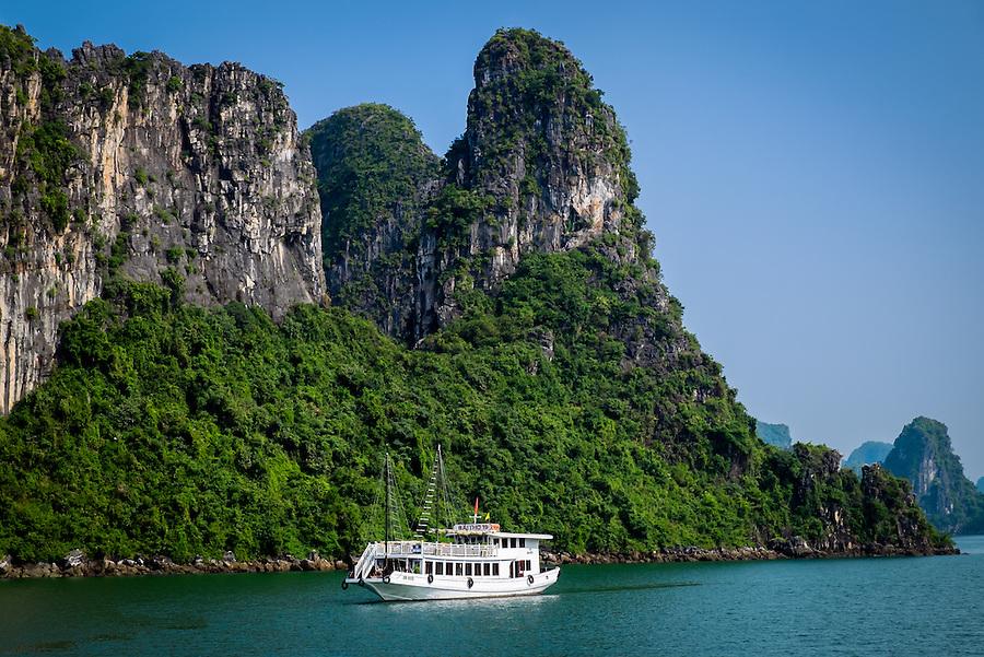 HA LONG BAY, VIETNAM - CIRCA SEPTEMBER 2014:  Tourist boat in Halong Bay, Vietnam.