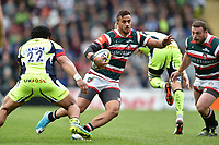 Peter Betham of Leicester Tigers in possession. Aviva Premiership match, between Leicester Tigers and Sale Sharks on April 29, 2017 at Welford Road in Leicester, England. Photo by: Patrick Khachfe / JMP