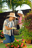 Grandmother and grand daughter working in the garden on a beautiful day.