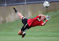 BOYDS, MARYLAND - July 21, 2012:  Didi Haracic (1) of DC United Women makes a save against the Virginia Beach Piranhas during a W League Eastern Conference Championship semi final match at Maryland Soccerplex, in Boyds, Maryland on July 21. DC United Women won 3-0.