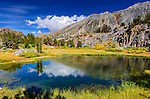 Alpine tarn on the Bishop Pass Trail, John Muir Wilderness, Sierra Nevada Mountains, California USA