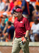 HAWGS ILLUSTRATED JASON IVESTER --08/30/2014--<br /> Arkansas defensive coordinator Robb Smith works with the players on Saturday, Aug. 30, 2014, before their game against Auburn at Jordan-Hare Stadium in Auburn, Ala.