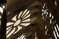 Shadows of rose windows on the naves, La Sagrada Familia, Barcelona, Catalonia, Spain, Roman Catholic basilica, built by Antoni Gaudí (Reus 1852 ? Barcelona 1926) from 1883 to his death. Still incomplete. Picture by Manuel Cohen