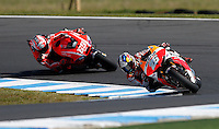 Honda MotoGP rider Dani Pedroza of Spain leads Ducati MotoGP rider Nicky Hayden of U.S. during qualifying  session at the Australian Motorcycle GP in Phillip Island, Oct 19, 2013. Photo by Daniel Munoz/VIEWpress IMAGE RESTRICTED TO EDITORIAL USE ONLY- STRICTLY NO COMMERCIAL USE.
